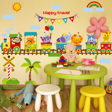 mural wall paper Train Happy Travel sticker on the wall Vinyl wall stickers for kids rooms vinilos adhesivos decorativos pared(China)