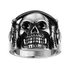 European American Headset Skull Head Stainless Steel Punk Rings Skeleton Earphone Oval Black Glass Stone Round Wide Army Jewelry