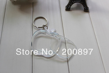 Promotion gift photo studio DIY clear acrylic apple shape 4.3*4.5cm blank key ring keychain 100pcs/lot(China)