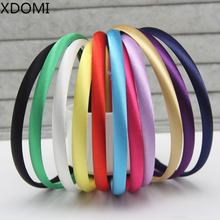 2016 Girls 1CM Color Satin Covered Resin Hairbands Ribbon Covered Kids Headbands Children Hair Accessory 5pcs/lot 28colors(China)