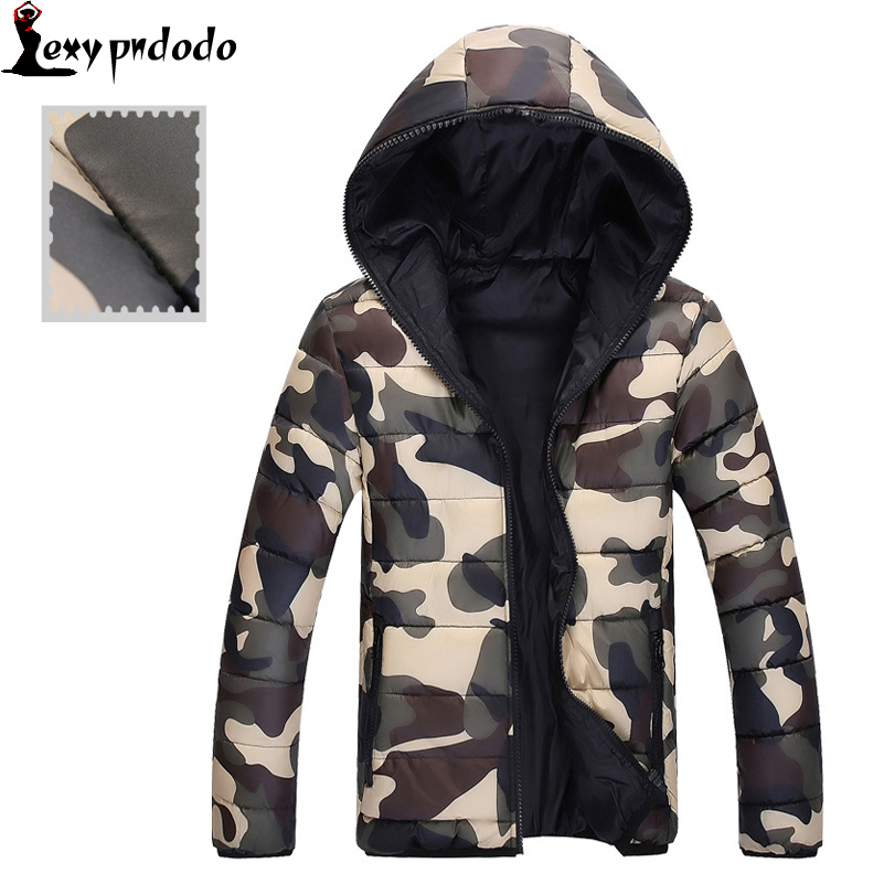 Camouflage Mens Down Coat Warm Winter Hooded Zipper Coats 2016 New Fashion Parka Men Jacket Keep Warm Eiderdown Cotton Hoodies