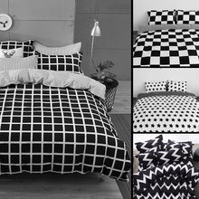 USA Russia Brazil Europe Size Bedding Sets White And Black Duvet Cover Set Double Queen King Single Soft Bedclothes Lattice