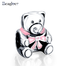 Beagloer 100% 925 Sterling Silver Girl Teddy Bear Charm Fit Handmade Original Bracelet Necklace Authentic Jewelry Gift PSMB0556