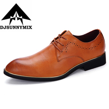 DJSUNNYMIX Brand mens shoes sales leather black brown lace-up formal business office fashion male shoes men dress for wedding(China)