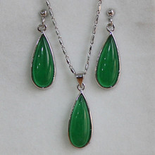 Free Shipping ! GP Dark Green  Jades Pendant  Earring Ring Jewelry Set