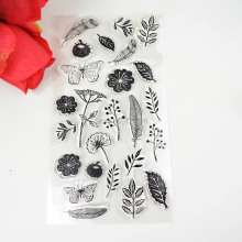 1PCS TPR silicon clear Stamp Feather flowers butterfly Stamp DIY Scrapbooking/Card Making/ Decoration Supplies(China)