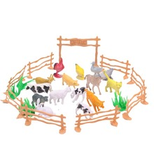15pcs/set Children Education poultry animal family farm feed fence simulation model animal toy Christmas gift Free shipping