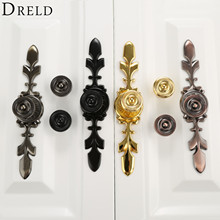 DRELD 170MM Black Furniture Handles Zinc Alloy European Modern Pulls Knobs For Door Cupboard Wardrobe Drawer Furniture Hardware