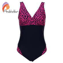 Andzhelika Plus Size Swimwear One Pieces Swimsuits pint Geometric Patchwork Solid high waist bathing suits Swimming 7XL 8285-3(China)