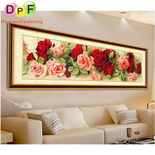 DPF Room Decor Diamond Painting Cross Stitch New 3d Diy Diamond Embroidery Floral Kits Mosaic Wall Decor Flowers Rose pictures(China)
