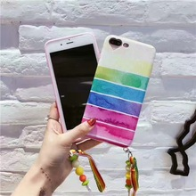 Super Fashion Lovely Rainbow Stripe Candy Tassels Cortex Case Cover For VIVO X7 X7Plus X9 X9Plus