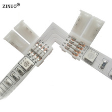 ZINUO 10pcs 4pin 10mm LED Strip Connectors For RGB LED Strip Connector for 5050 RGB PCB Board Wire Connection RGB Color Strip(China)
