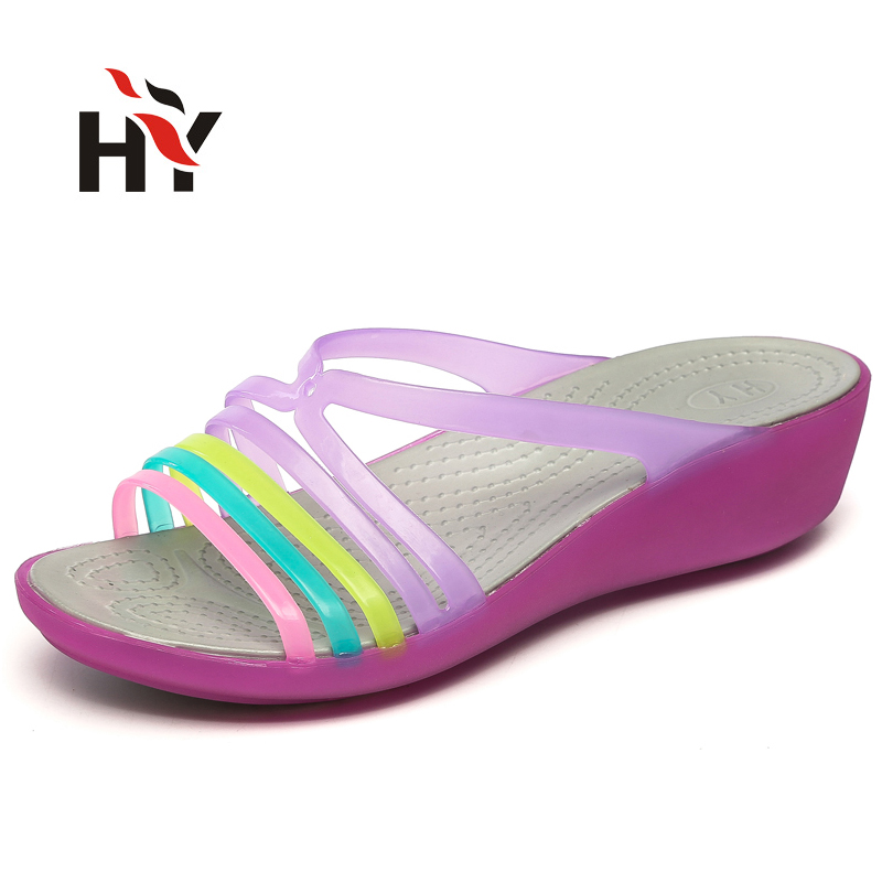 Women Sandals 2017 Summer New Candy Color Peep Toe Stappy Beach Valentine Rainbow Jelly Shoes Woman Wedges Ladies Sandalias<br><br>Aliexpress