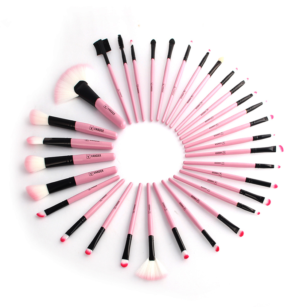 32Pcs Professional Makeup Brush Set Foundation Eye Face Shadows Lipsticks Powder Brushes Make up Cosmetic Tools With Pink Bag (12)