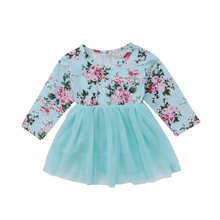 Kid Baby Girls Long Sleeve Floral Party Pageant Formal Tulle Dress Clothes Adorable Baby Girls Blue Floral Tulle Princess Dress(China)