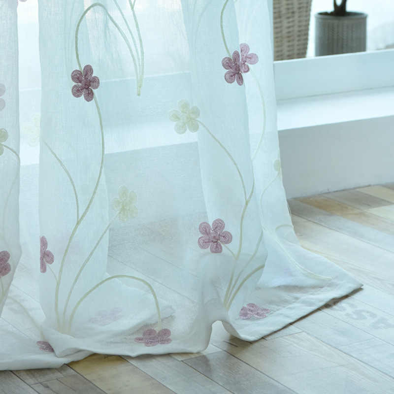 Pastoral Style Tulle Curtains for Living Room Pink Floral Embroidered Sheer Curtain for Bedroom Window Curtain Drapes Decoration