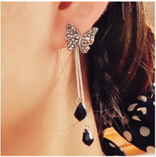 EY284 Latest Fashion Full Imitation crystal Tassel Earrings Butterfly Long Section Of Water Droplets Jewelry Factory Direct 2017