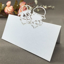 50pcs Wedding Cards Romantic Name Card Adorable Pig/ Rose Pattern Place Card Romantic Seat Card for Party Wedding