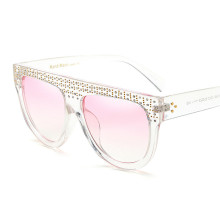 Quality Europe Fashion Brand Womens Sunglasses Hand Make Rivet Bright Diamond Female Sun Glasses Vintage Pink Shades lunettes(China)