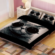 UPS FedEx Twin/Full/King Size Lovely Cat Children Bedding Set Quilt Cover&Pillowcase Cartoon Printed Home Textiles Bedclothes(China)