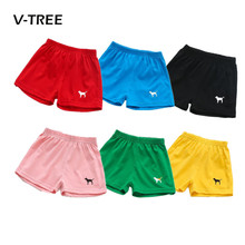 V-TREE New Summer Baby Boys Girls Shorts Candy Color Cotton Kids Beach Shorts Pants sports Children Brand Baby Clothes 2-7T(China)