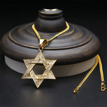 New Jewelry Star of Pendant Necklace Alloy Vintage Silver Tone Gold Color Ice Out Rhinestone Cube Chain Pentagram Pendant