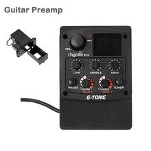 Cherub G-Tone GT-6 Acoustic Guitar Preamp Piezo Pickup 3-Band EQ Equalizer LCD Tuner with Reverb/Delay/Chorus/Wide Effects