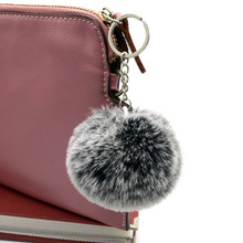 8cm Frost white fur pom pom ball keychain 1 ball 2 colors Women bag key chains pompon porte clef pompom de fourrure(China)