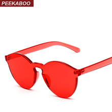 Peekaboo one piece lens sunglasses women transparent plastic glasses men style sunglasses clear candy color brand designer(China)