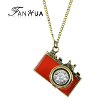 FANHUA Individual Jewelry Vintage Style White Rhinestone Cute Red Enamel Camera Pendant Necklace