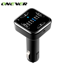 Onever Universal Bluetooth 4.0 Car Kit Music Player FM Transmitter Modulator with 6 FM Channel USB Car Charger AUX OUT DC 12/24V(China)