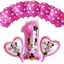 13pcs/lots Minnie Mouse theme party decoration Combination suit balloons Happy birthday party Dot latex balloons baby kid toys