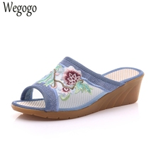 Chinese Women Summer Slippers Flower Embroidered Gauze Slipper Soft Comfortable Casual Shoes Woman Linen Sandals(China)
