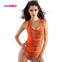 Faerdasi Backless Swimsuit Orange Striped Bathing suit Women High Cut Swimwear Hollow out Beachwear Rope Swimming suit Bodysuit(China)