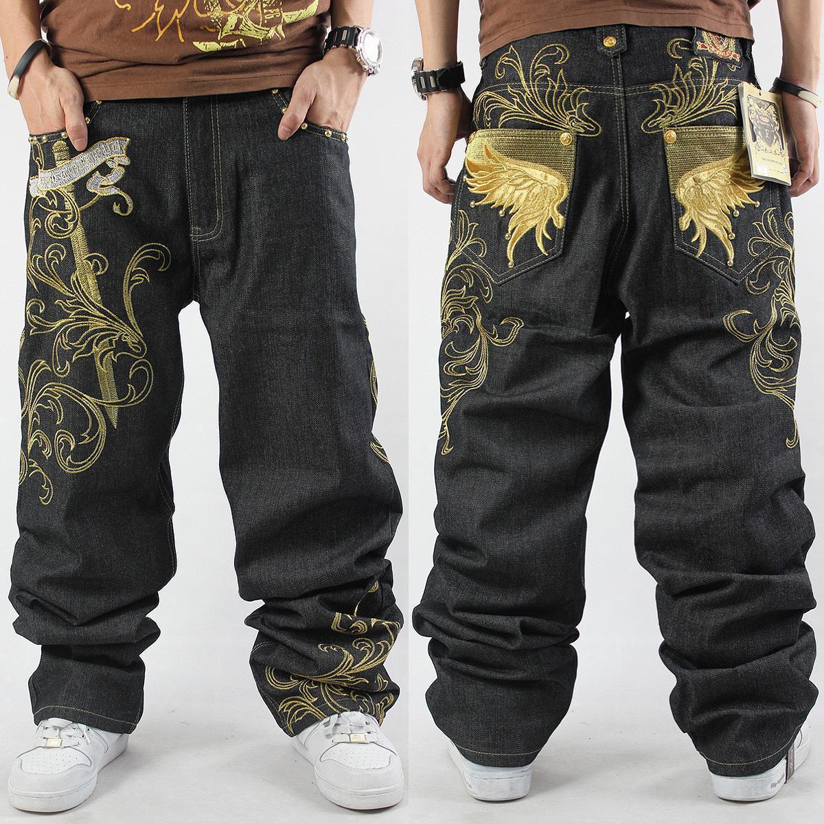 2017 Men Hip Hop Jeans Skateboard Men Baggy Jeans Mens Denim Hit Hop Pants Casual Loose Jeans Rap Street WearОдежда и ак�е��уары<br><br><br>Aliexpress