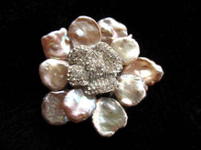 wow! freshwater pearl purple flower reborn keshi  brooch 50mm nature FPPJ