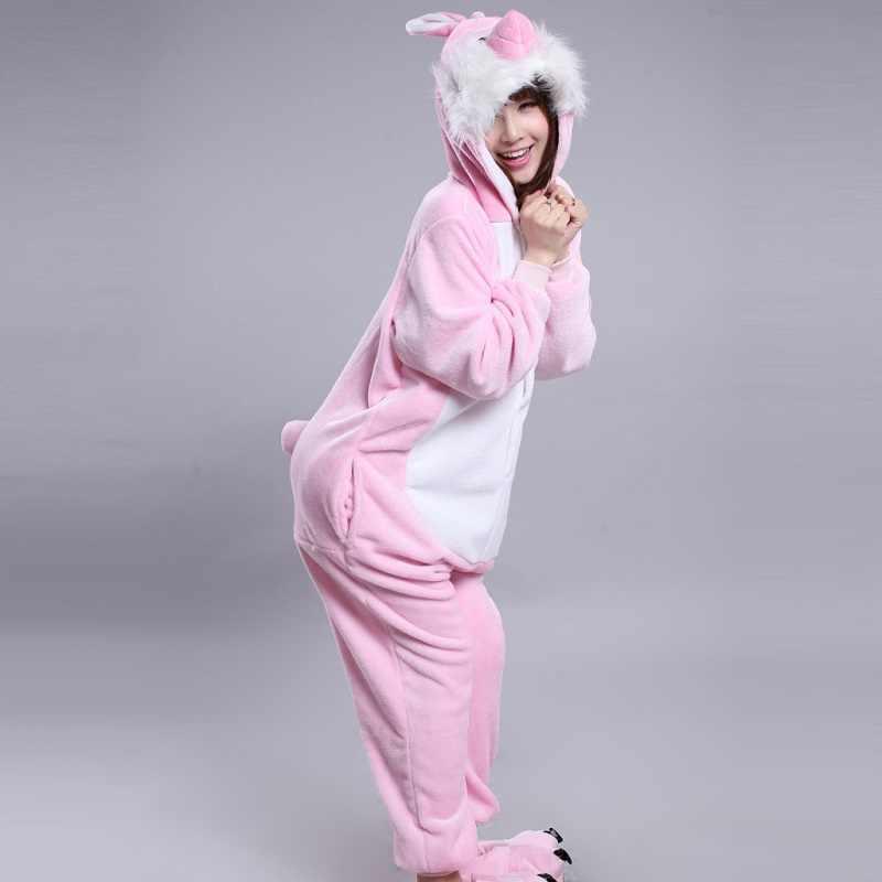 пижама заяц Кигуруми кролик милый мультфильм животных с капюшоном с длинным  рукавом розовый кролик Onesie для f19ca2c4c7345