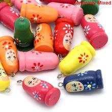 "DoreenBeads Wood Charm Pendants Russian Dolls Mixed 3.5cm(1 3/8"") x 16.0mm( 5/8""), 2 PCs 2015 new(China)"