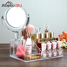 16 grids Crystal Cosmetic Organizer Makeup Jewelry Lipstick Brush Insert Holder Box With Mirror Organizador De Maquillaje 1 Pcs