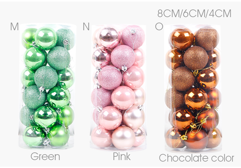 08 inhoo 24PCSset Christmas ornament 468cm Christmas Tree Balls Baubles Xmas for Home Party Colorful Wedding Decoration Supplies