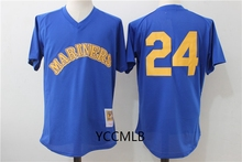 MLB Men's Seattle Mariners 24 Griffey Blue Baseball Throwback Cooperstown Batting Practice Jersey Free Shipping(China)