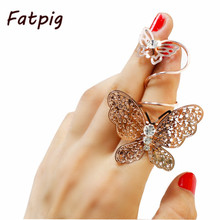 Gold Vintage Punk Personalized European Style Exaggerated Hollow Butterfly Pattern Flexible Long Ring