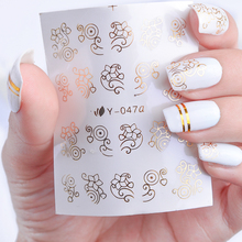 1 Sheets Gold/Silver/Black Bronzing Shiny Designs Nail Art Water Transfer Sticker Adhesive Water Decal Full Nail Art sticker TRY(China)