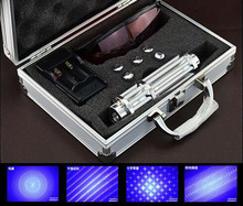 Newest Hight Quality 450nm 50000mw Blue Light Laser Pointer Pen Power Beam 5 Head With Charger With Goggles With Box