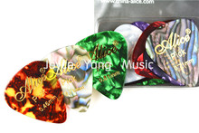 Alice 12pcs Gold Stamping Pearl Celluloid Guitar Picks Plectrums Clamshell Free Shipping(China)