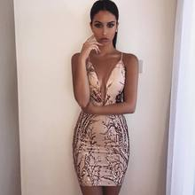 Women Sexy Paillette Deep V Neck Mesh Pink Black Bodycon Bandage dress 2017 Fashion Bling Mini Celebrity Party Dresses