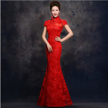 Red Lace Long Cheongsam Qipao Dress Traditional Chinese Dresses Bride Wedding Qi Pao Robe Chinoise Vestidos Orientales Wholesale