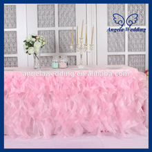 CL010C organza 6 ft rectangle 30'' wide 72'' long 30'' drop curly willow frilly baby pink fancy wedding tablecloths with top