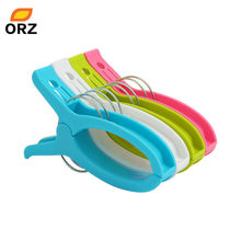 ORZ 10pcs Clothes Laundry Clips Powerful Large Windproof Plastic Clothespin Sun Caught Towel Peg Clamp Laundry Storage Organizer(China)