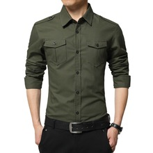 Plus Size M-4XL 100% pure cotton Men Clothes Shirts 2017 New casual Brand military Shirt Slim Fit Men Long Sleeve Shirt(China)